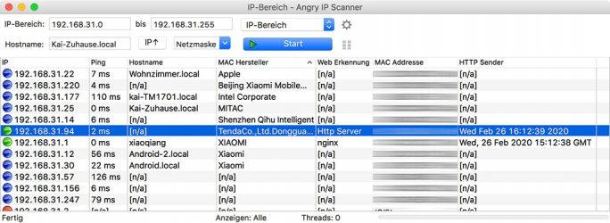 Rock Space AC1200: IP-Scanner findet Repeater (Screenshot: ZDNet.de)