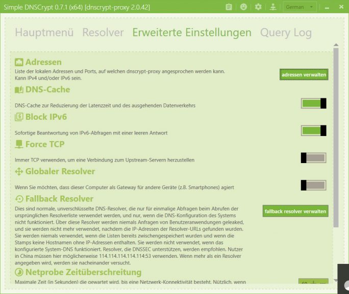 Simple DNSCrypt: Erweiterte Einstellungen (Screenshot: ZDNet.de)