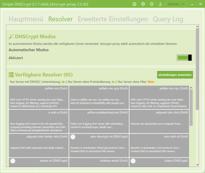Simple DNSCrypt: Resolver automatisch (Screenshot: ZDNet.de)
