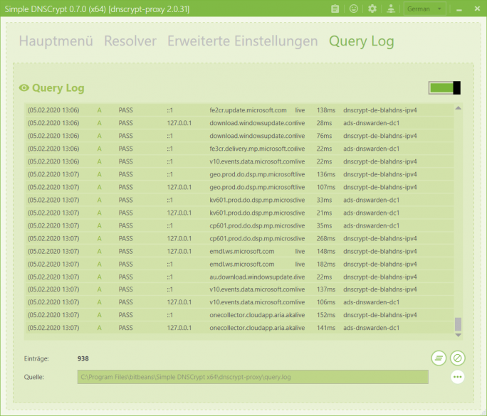 Simple DNSCrypt: Query Log (Screenshot: ZDNet.de)