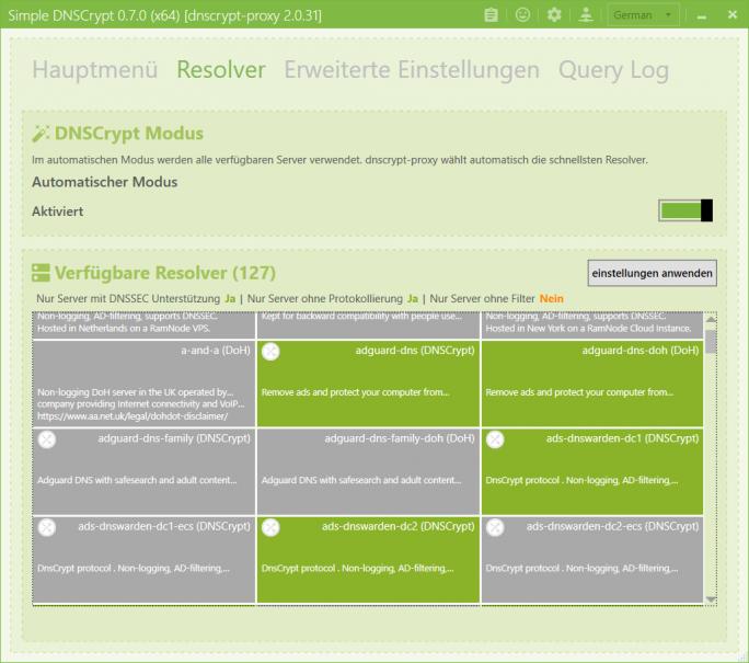 Simple DNSCrypt: Resolver manuell auswählen (Screenshot: ZDNet.de)