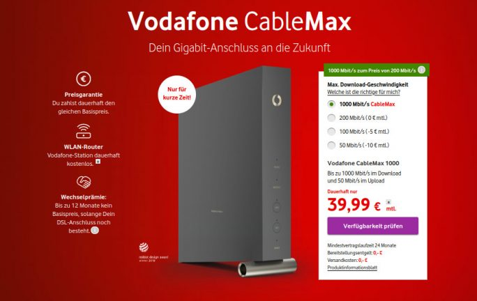 Vodafone: 1 Gbit/s für 40 Euro (Screenshot: ZDNet.de)