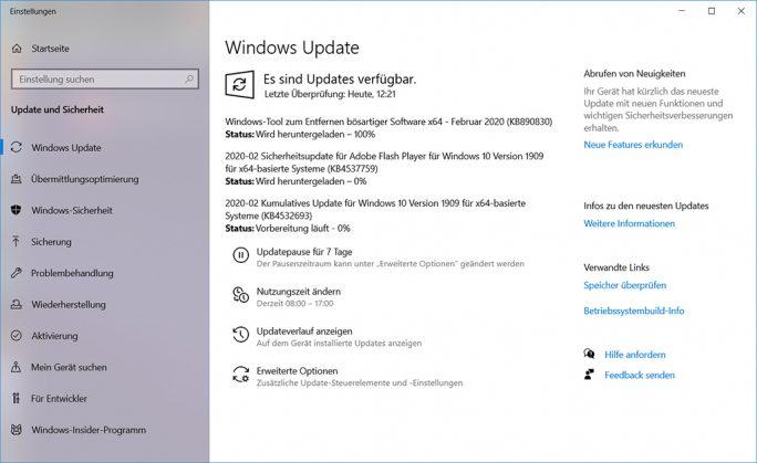 Windows 10: Februar-2020-Update (Screenshot: ZDNet.de)