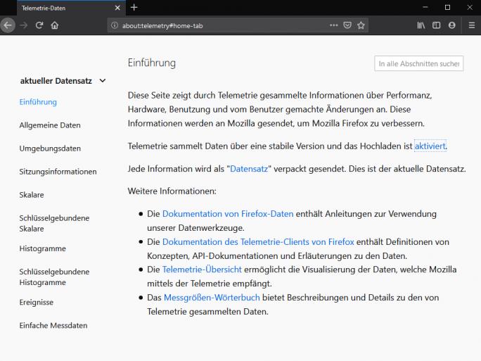 Telemetriedaten in Firefox (Screenshot: ZDNet.de)