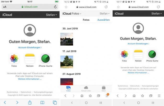 iCloud.com unter iOS und Android (Screenshots: ZDNet.de)