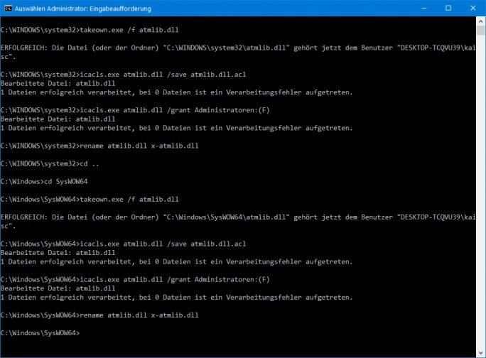 ATMLIB.DLL umbenennen (Screenshot: ZDNet.de)