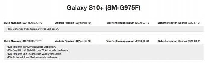Galaxy S10 erhält Juli-Update (Screenshot: ZDNet.de)