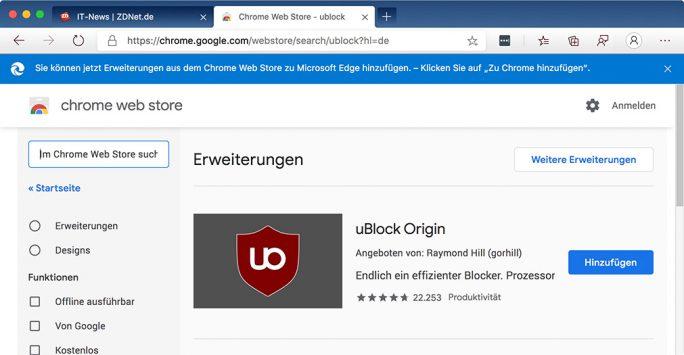 Google warnt nicht länger vor Microsoft Edge (Screenshot: ZDNet.de)