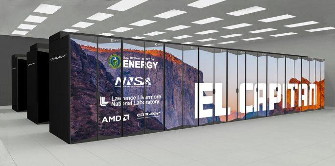 HPE El Capitan mit AMD EPYC-Prozessoren: Zehn mal schneller als der schnellste Supercomputer (Bild: HPE)