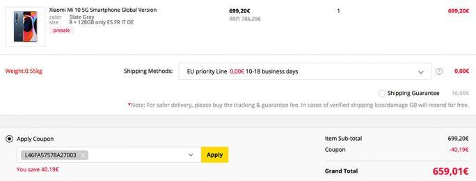 Mi 10 für 659 Euro (Screenshot: ZDNet.de)