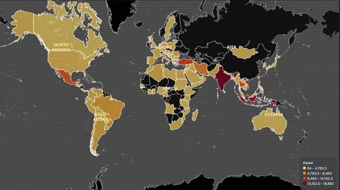 Geographische Ausbreitung des Necurs-Botnet (Bild: BitSight)