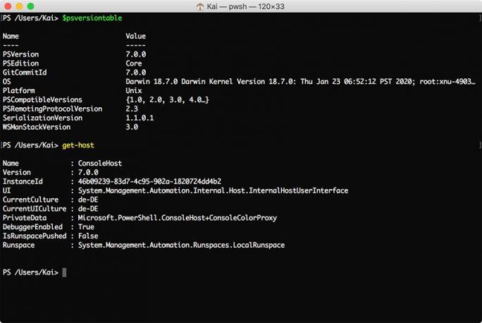 PowerShell 7 unter macOS (Screenshhot: ZDNet.de)