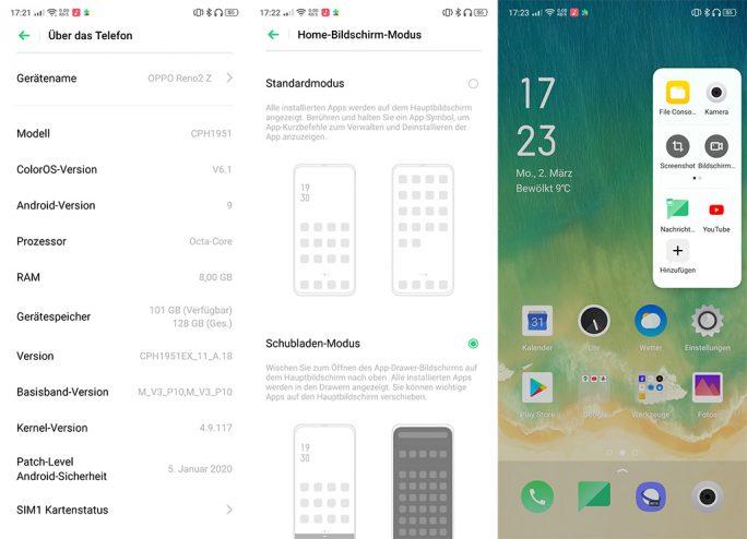 Reno2 Z: Info, Startbildschirm, Seitenleiste (Screenshot: ZDNet.de)