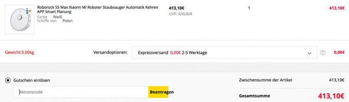 Roborock S5 max für 413,10 Euro (Screenshot: ZDNet.de)