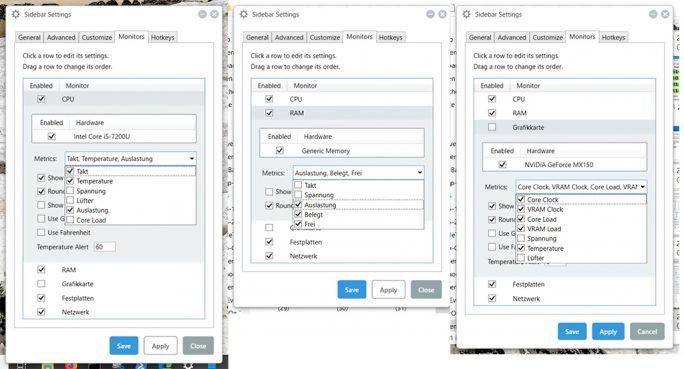 SidebarDiagnostics: CPU, RAM, Grafikkarte (Screenshot: ZDNet.de)