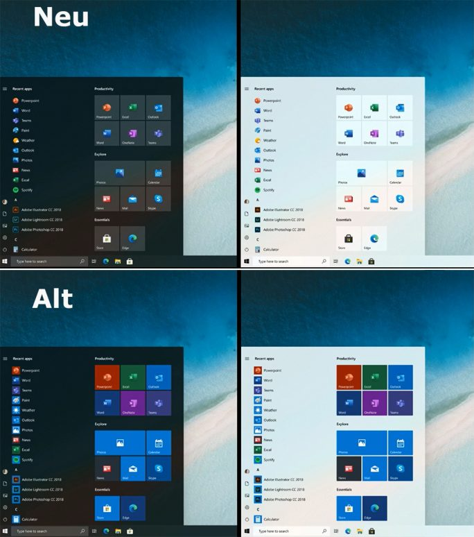 Windows 10: Start-Menü im Fluent Design (Bild: Microsoft)-2020