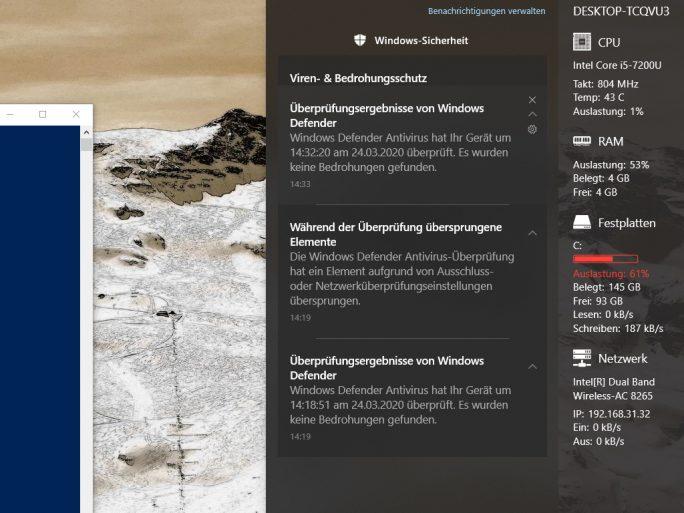 Windows Defender: Übersprungene Elemente (Screenshot: ZDNet.de)