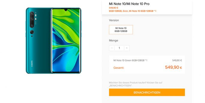 Xiaomi: Mi Note 10 549 Euro (Screenshot: ZDNet.de)