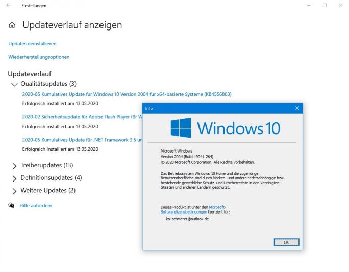 Windows 10 19041.264 (Screenshot: ZDNet.de)