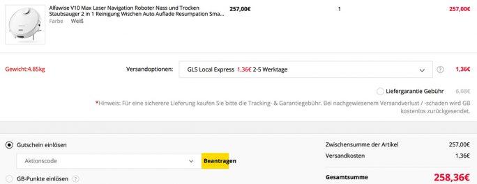 Alfawise V10 Max für 258 Euro (Screenshot: ZDNet.de)