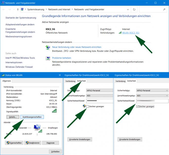 Netzwerk und Freigabecenter: WLAN-Passwort anzeigen (Screenshot: ZDNet.de)