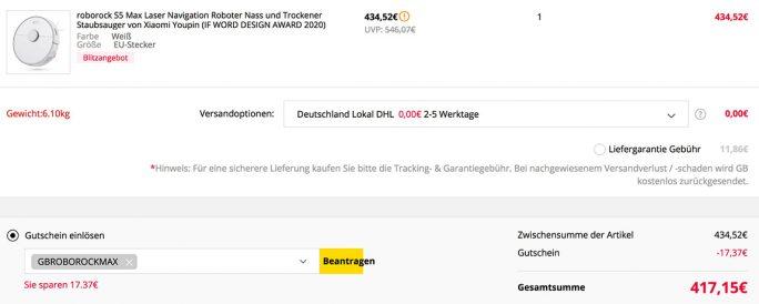 Roborock S5 Max für 417 Euro (Screenshot: ZDNet.de)