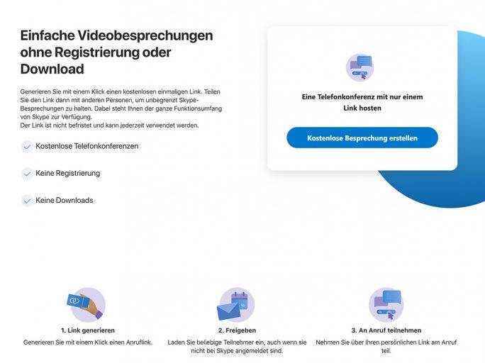 Skype Meet Now: Sprach- und Videochats ohne Konto (Screenshot: ZDNet.de)