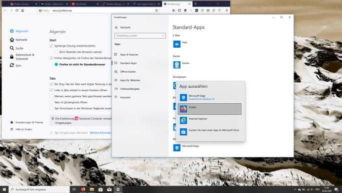Windows 10: Standard-Browser unter Einstellungen - Apps - Webbrowser auswählen (Screenshot: ZDNet.de)