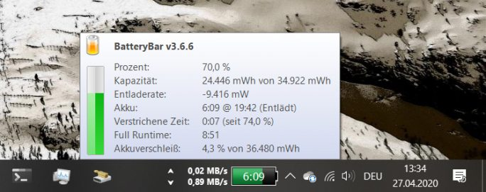 Windows 10 2004 mit BatteryBar (Screenshot: ZDNet.de)
