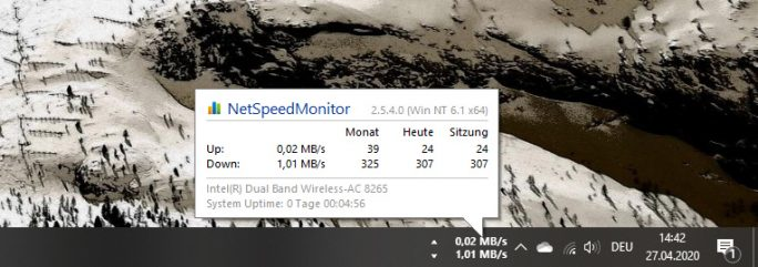 Windows 10 2004: NetSpeedMonitor (Screenshot: ZDNet.de)