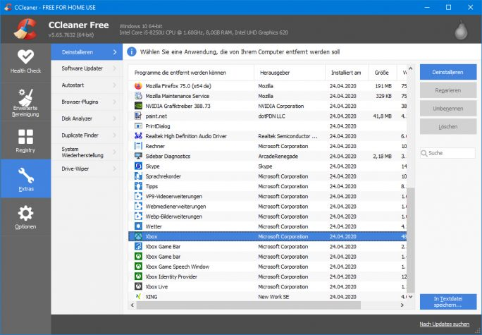 Windows 10 2004: Vorinstallierte Apps mit CCleaner Portable löschen (Screenshot: ZDNet.de)