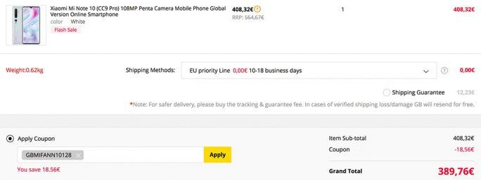 Xiaomi Mi Note 10 für unter 390 Euro (Screenshot: ZDNet.de)