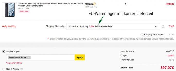 Xiaomi Mi Note 10 aus EU-Warenlager mit kurzer Lieferzeit für unter 400 Euro (Screenshot: ZDNet.de)