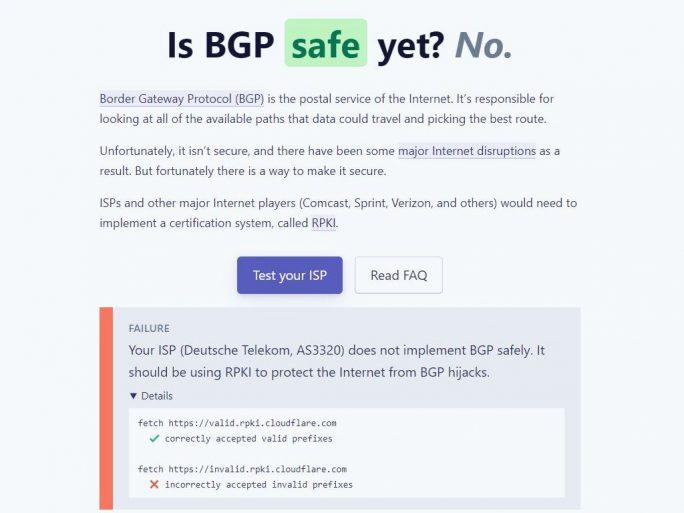 BGP Safety Test von Cloudflare (Screenshot: ZDNet.de)