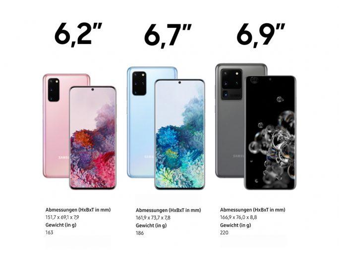 Galaxy S20: Abmessungen und Gewicht (Bild: ZDNet.de)