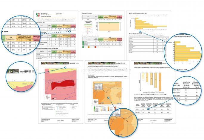 Reports werden in vielfältiger Form erstellt: als gedruckter, mehrseitiger Bericht, als einzelnes Diagramm, mit Karte und textuellen Zusatzinformationen versehen. (Bild: Disy)