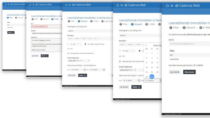Der Report Scheduler von Cadenza unterstützt bei der Automatisierung des Reportings und führt Schritt für Schritt durch den Versendeprozess. (Bild: Disy)