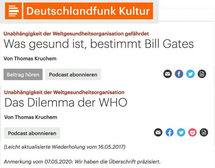 """Deutschlandfunk-Kultur: Der 2017 im Deutschlandfunk erschienene Beitrag """"Was gesund ist, bestimmt Bill Gates"""" heißt nun """"Das Dilemma der WHO"""" (Screenshot: ZDNet.de)"""