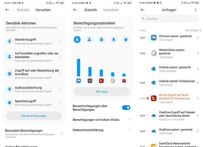 MIUI 12: Verbesserte Datenschutzeinstellungen (Screenshot: ZDNet.de)