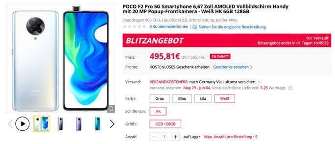 Poco F2 Pro für 496 Euro (Screenshot: ZDNet.de)