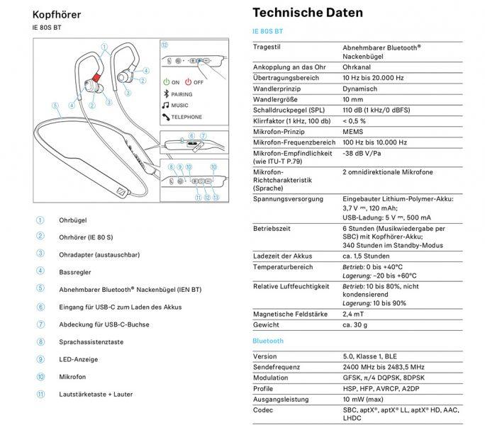 Sennheiser IE 80S BT: Technische Daten, Bedienung (Screenshot: ZDNet.de)