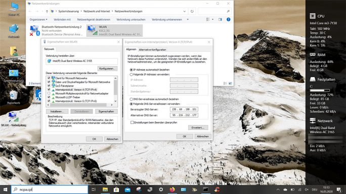 Windows 10 19628.1: Blah-DNS als DoH-Server nutzen (Screenshot: ZDNet.de)