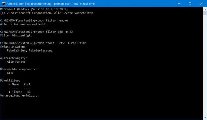 Windows 10: DoH ist aktiv. Kein Datenverkehr mehr über klasssischen DNS-Port 53 (Screenshot: ZDNet.de)