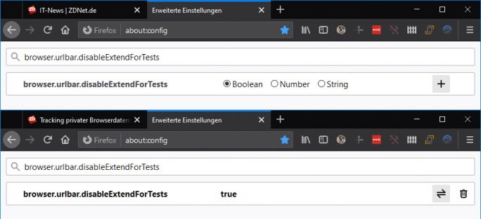 Firefox 77: browser.urlbar.disableExtendForTests (Screenshot: ZDNet.de)