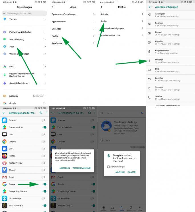 Google-App: Erlaubnis zu Nutzung des Mikrofons entziehen (Screenshot: ZDNet.de)