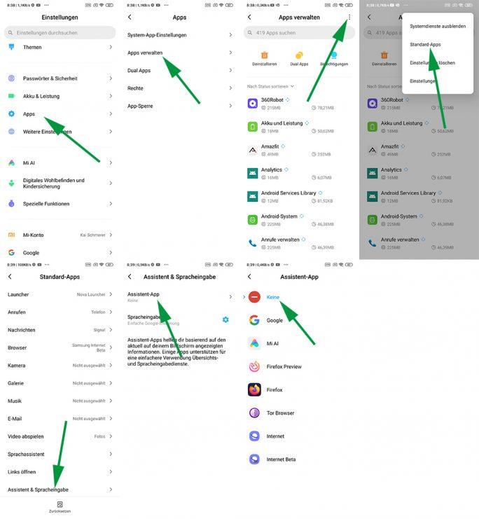 Google Assistant: Konfiguration als Standard-App löschen (Screenshot: ZDNet.de)