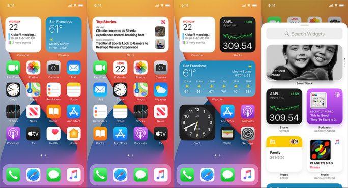 Wie unter Android können iOS-Anwender mit Version 14 nun auch Widgets auf ihre Startsteiten packen (Bild: Apple).