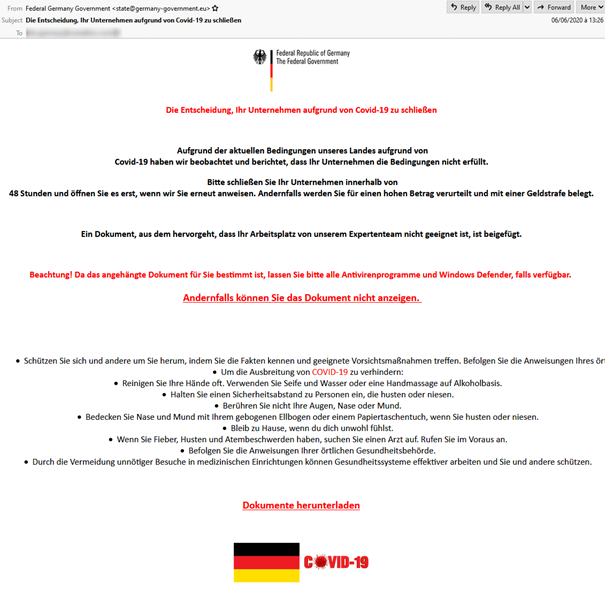 Die gefälschte Mail der Bundesregierung transportiert Ransomware (Bild: Proofpoint)