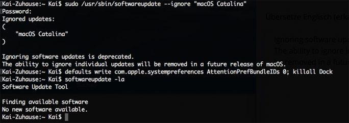 Apple unterbindet Blockade von Updatehinweis für macOS 10.15 Catalina (Screenshot: ZDNet.de)