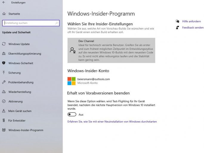 Windows 10 Insider Channel (Screenshot: ZDNet.de)
